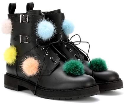 Fendi Fur-embellished leather ankle boots