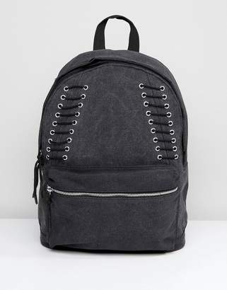 Asos Distressed Backpack In Gray With Lace Up Detailing
