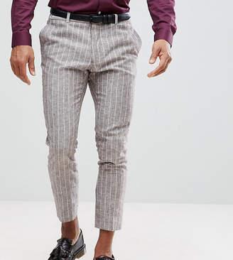 Heart & Dagger Skinny Cropped PANTS In Linen Stripe