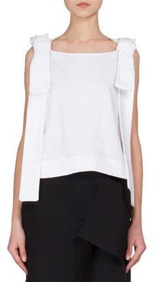 Victoria Victoria Beckham Sleeveless Shoulder-Ties T-Shirt, White $295 thestylecure.com