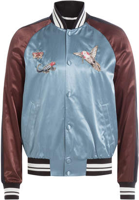 Valentino Satin Bomber Jacket with Embroidery