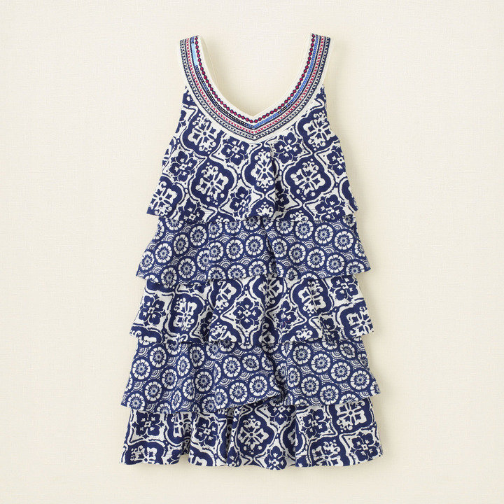Children's Place Embroidered yoke tiered dress