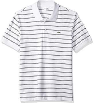 Lacoste Men's Short Sleeve Striped Pima Interlock Regular Fit Polo