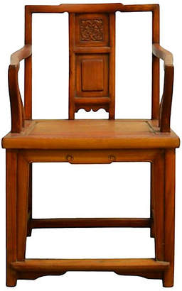 One Kings Lane Vintage Antique Chinese Carved Elmwood Chair - FEA Home
