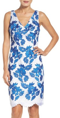 Women's Adrianna Papell Two-Tone Guipure Lace Sheath Dress $189 thestylecure.com