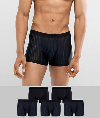 Asos Trunks In Microfibre With Mesh Details 5 Pack