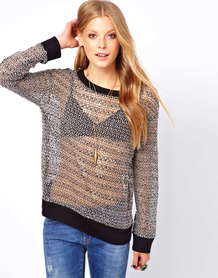 Winter Kate Long Sleeve Sheer Sweater with Sequin Detail