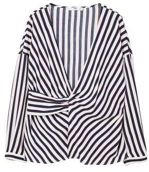 MANGO Striped wrap blouse