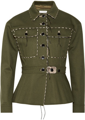 Snake-effect Leather-trimmed Stretch-cotton Gabardine Jacket - Army green