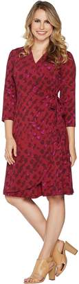Halston H By H by Regular 3/4 Sleeve Printed Wrap Dress