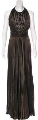 Reem Acra Silk Halter Gown Brown Silk Halter Gown