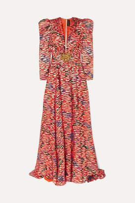 Dundas Metallic Embellished Floral-print Fil Coupé Silk-blend Chiffon Gown - Red