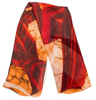 Kenzo Silk Printed Scarf Orange Silk Printed Scarf
