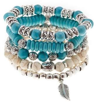 Jean Claude Boho Chic Natural Stone Stretch Bracelets - Set of 5