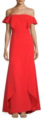 BCBGMAXAZRIA Off-The-Shoulder Column Gown