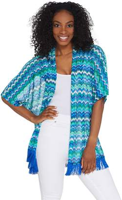 GRAVER Susan Graver Novelty Knit Kimono with Tassel Trim