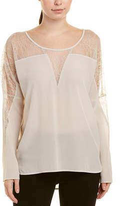 Gold Hawk Lace Insert Silk Top