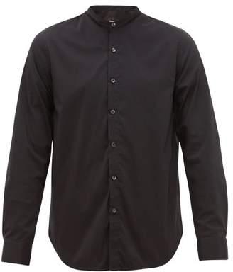 Giorgio Armani Grandad Collar Cotton Blend Shirt - Mens - Black