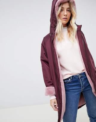 Asos Design DESIGN faux fur lined rainwear