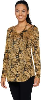 Women With Control Attitudes by Renee V-Neck Textured Knit Top w/ Cut-Out Detail