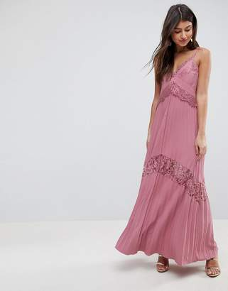 Asos Pleated Maxi Dress with Lace Inserts