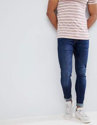 Pull&Bear Super Skinny Jeans In Dark Blue