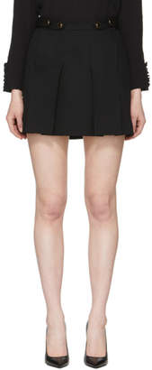 Givenchy Black Wool Button Miniskirt