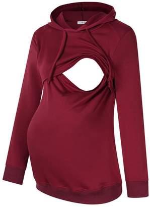 MissQee Women Maternity Nursing Hoodie Breastfeeding Hooded Sweatshirt Tops L
