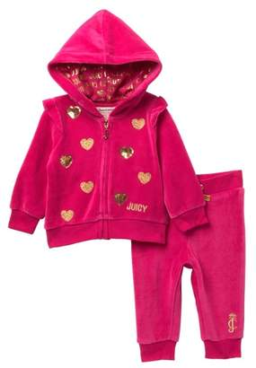 Juicy Couture Dark Pink Velour Hoodie & Pants Set (Baby Girls 3-9M)