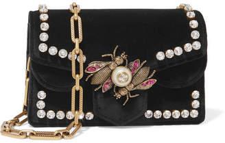 Gucci Broadway Embellished Velvet Shoulder Bag - Black