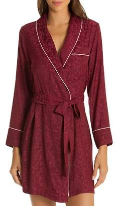Jonquil In Bloom by Leaf Jacquard Satin Short Robe