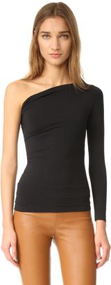 Helmut Lang Long Sleeve One Shoulder Top $160 thestylecure.com