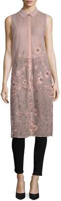 T Tahari Women's Sabina Long-Line Floral Tunic