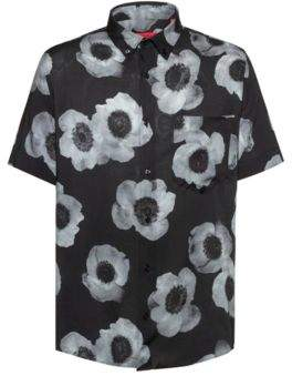 512339ce485 HUGO Relaxed-fit shirt with negative-effect floral print