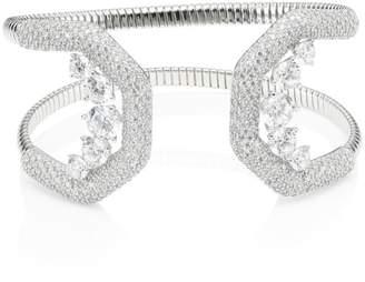 Adriana Orsini Rhodium-Plated & Cubic Zirconia Pave Wide Cuff Bracelet
