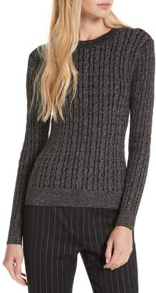 Milly Shimmer Cable Crewneck Sweater