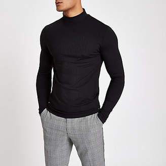 River Island Black ribbed muscle fit turtle neck T-shirt