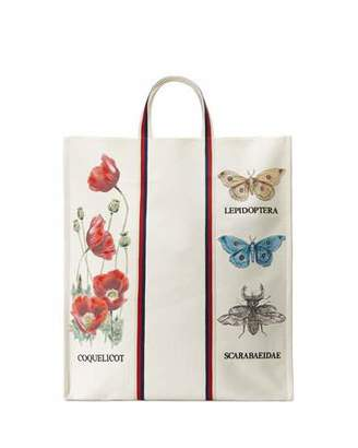 Gucci Bestiary Large Botanical Canvas Tote Bag