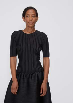 Pleats Please Issey Miyake Three Quarter Sleeve Rib Pleats Top