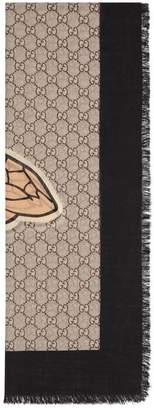 Gucci Bee Web print wool stole
