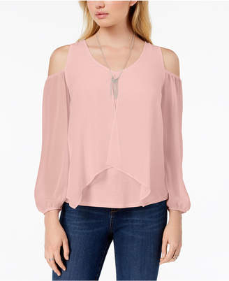 BCX Juniors' Cold-Shoulder Contrast Top
