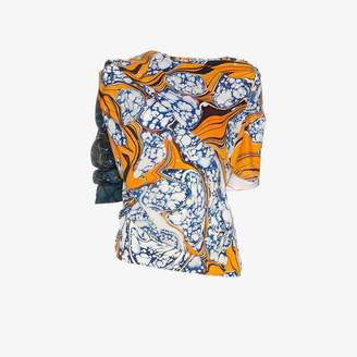 Rosie Assoulin draped off-shoulder print silk blend top