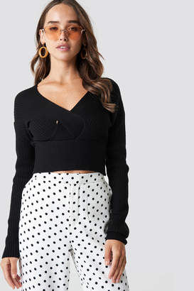 NA-KD Na Kd Front Cross Cropped Sweater