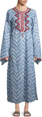 Raga Embroidered Tie-Dye Caftan Dress