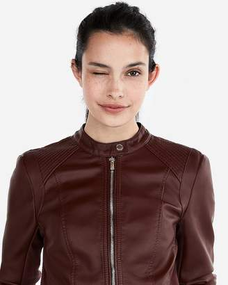 Express Petite Double Peplum (Minus The) Leather Jacket