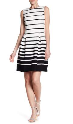 Eliza J Pleated Striped A-Line Dress
