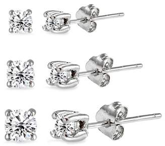 Designs By Fmc Trio .925 Sterling Silver Stud Earring Set