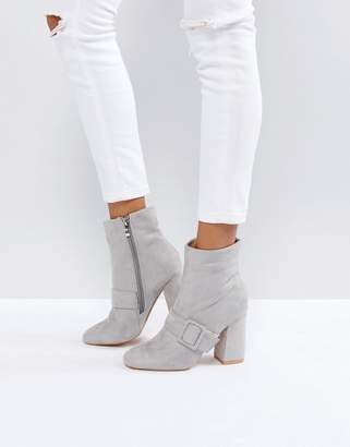 Glamorous Gray Buckle Detail Heeled Ankle Boots