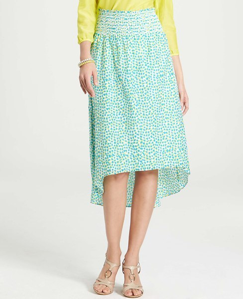 Ann Taylor Etched Notes Print Cotton Silk Skirt