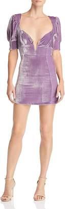 For Love & Lemons Viva Plunging Velvet Mini Dress